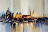 Abstrakte Altstadtsilhouette Dresden - Acryl auf Leinwand