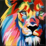 Buntes Löwengemälde – Acrylbild auf Leinwand – Martin Klein