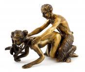 Erotik-Bronze - Satyr verführt Jungfer - zweiteilig, Bergmann-Stempel
