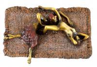 Erotisches Intermezzo zwischen Faun und Jungfer - Echte Bronze