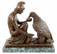 Griechische Statue - Zeus und Ganymed - Mythologische Bronze - Erotika