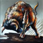 Modern Art - Acrylgemälde - Stierangriff - Martin Klein