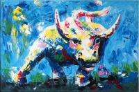 Modern Art - Buntes Stiergemälde - Martin Klein