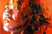 Modernes Gemälde - Erotische Asiatin - Porträt auf Leinwand