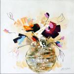 Modernes Wandbild - Abstrakter Blumenstrauß - Leinwand - Martin Klein