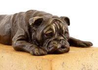 Niedliche Tierfigur - Britische Bulldogge - Bronze auf Naturstein - Bergmann-Stempel