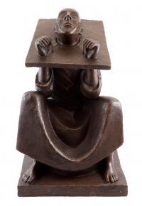 Signierte Bronzeskulptur - Mann im Stock - 1918 - Ernst Barlach