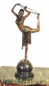 Tänzerin mit Ring - Bronze, D. H. Chiparus