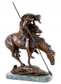Westernfigur aus Bronze - Reiterskulptur - End of the trail