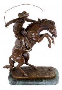 Westernfigur aus Bronze - Reiterskulptur - The Bronco Buster